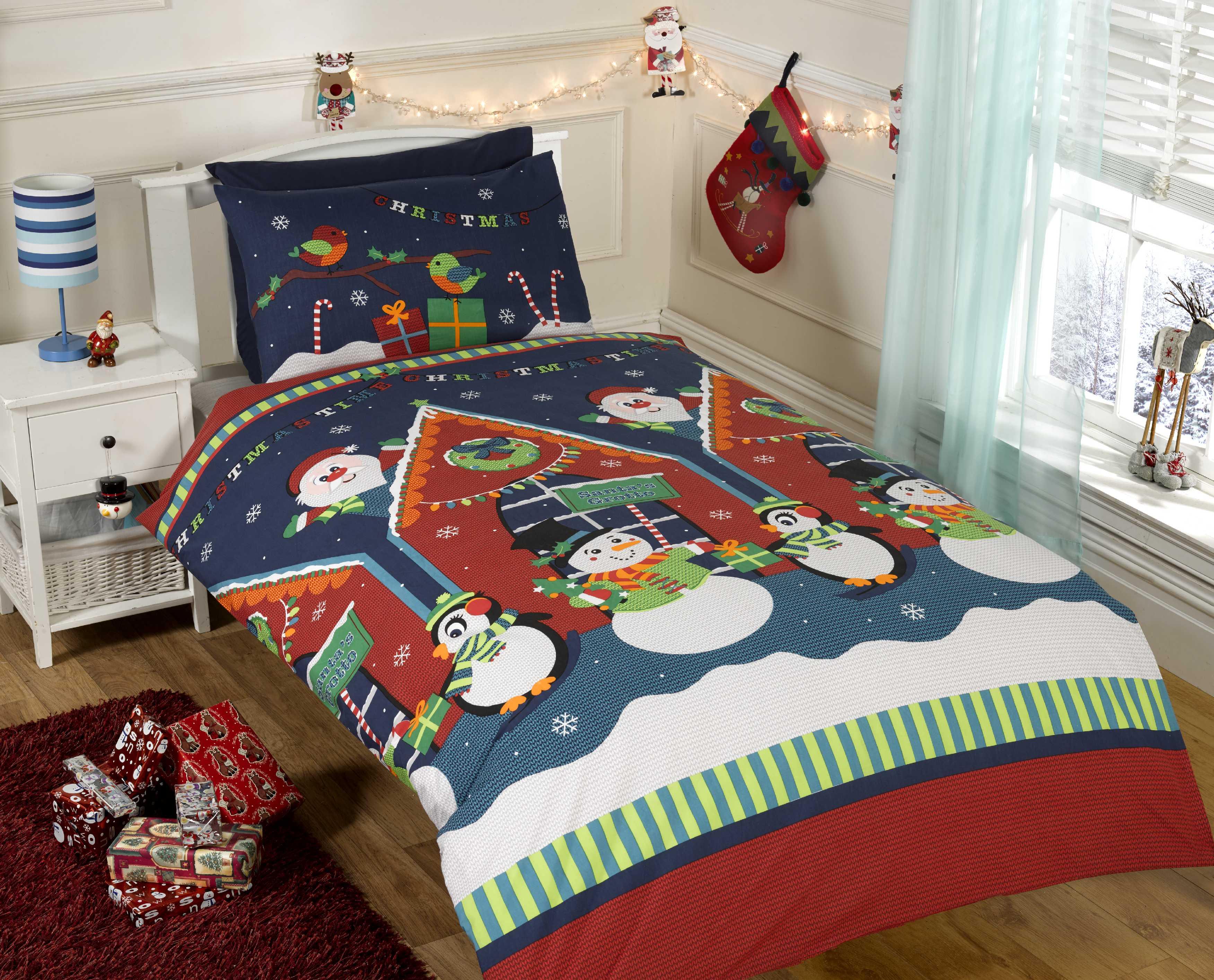 Dětské Vánoční povlečení Santa a sněhuláci