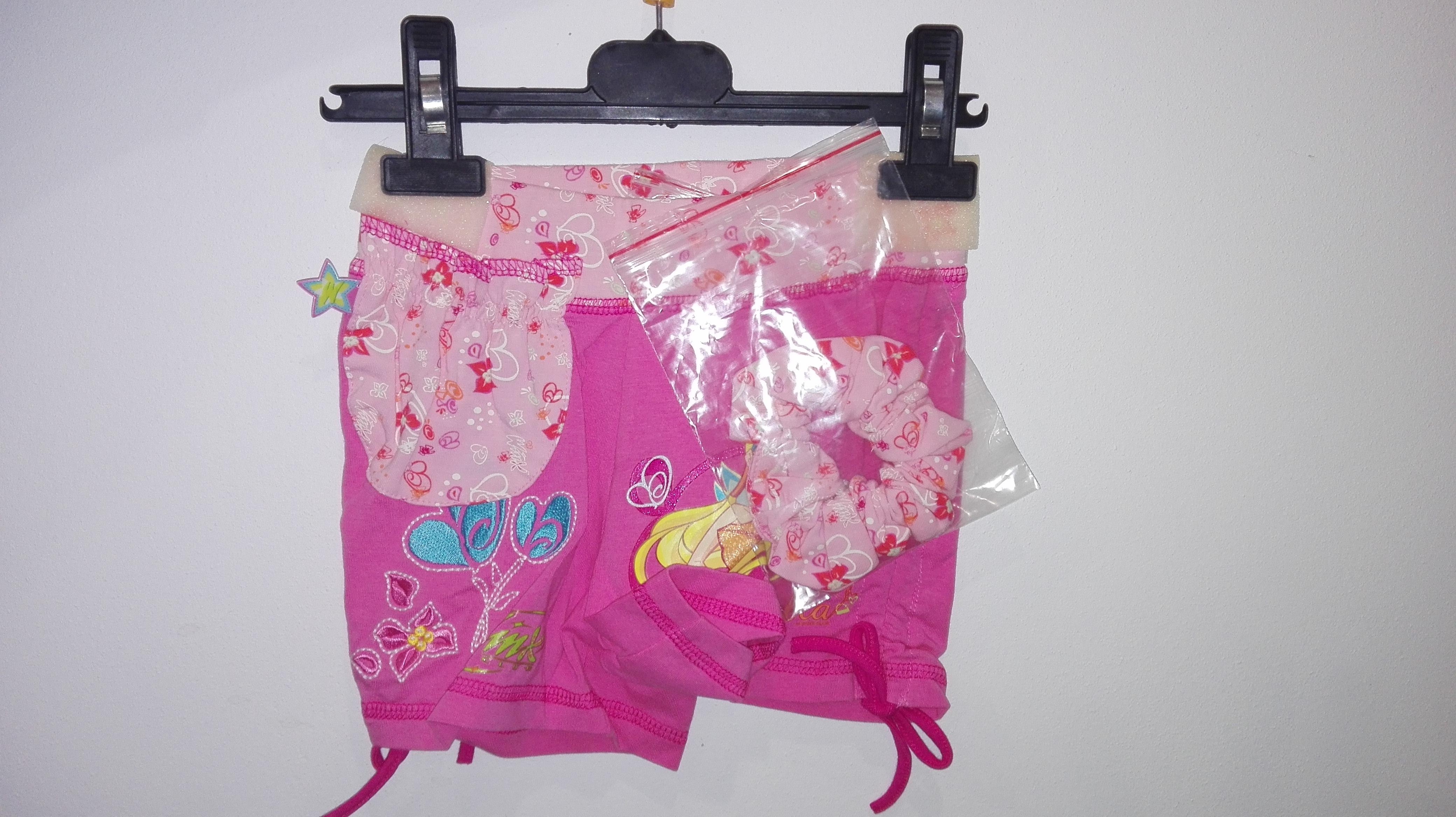 Kraťasy šortky dívčí + gumička WINX, růžová vel. 3-4 roky