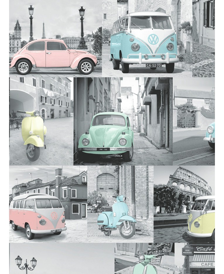 Tapeta retro Volkswagen Collage 10m