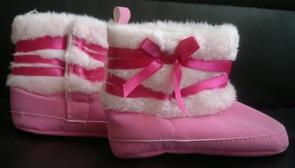 Teplé dětské zimní botky 6-12 měsíců růžové