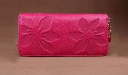 Kožená peněženka Flowers tm. růžová