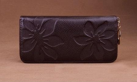 Kožená peněženka Flowers černá