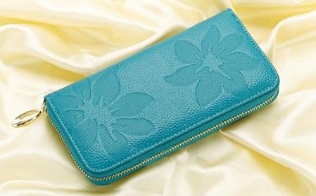 Kožená peněženka Flowers tyrkysová