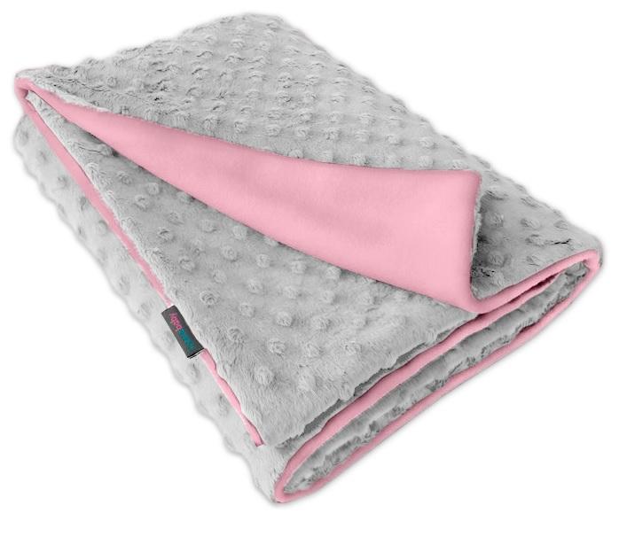 Dětská fleece deka Minky sv.šedá/růžová oboustranná