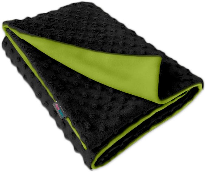 Dětská fleece deka Minky černá/limetka oboustranná