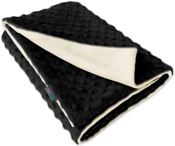 Dětská fleece deka Minky černá/přírodní oboustranná