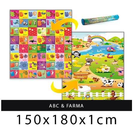 Dětský pěnový koberec Zvířátka + Písmenka 180x150 cm