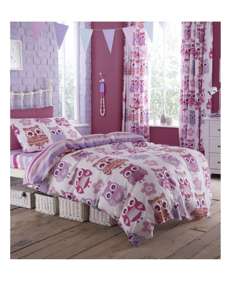 Dětské povlečení Sovičky/proužky oboustranné růžová, fialová
