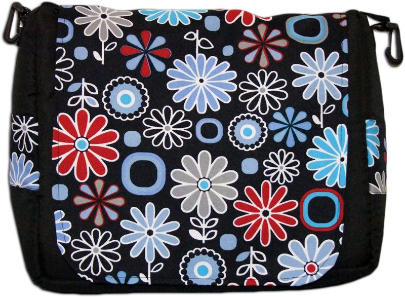 TAŠKA NA KOČÁREK KLOPA - černá/květiny modrá