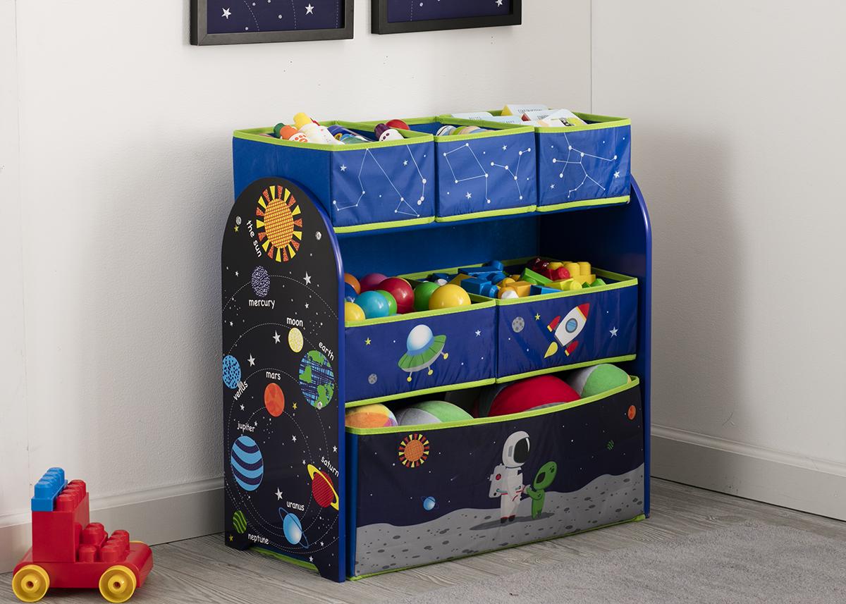 Komoda na hračky, organizér Vesmír modrá