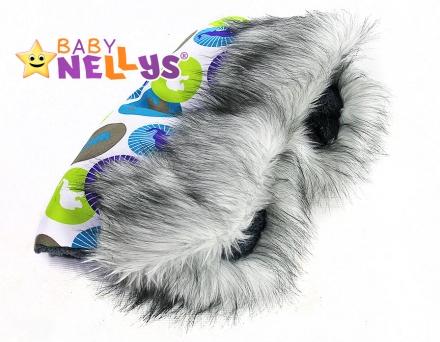 Rukávník na kočárek s kožešinou Baby Nellys flees Eskymo bílá/sloníci
